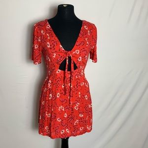 NOWT Free People Red Floral Dress Size 2